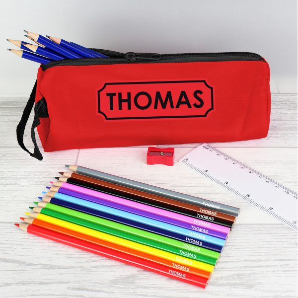 Red Pencil Case with Pencils & Crayons