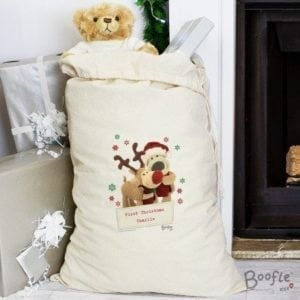 Personalised Boofle Christmas Reindeer Cotton Sack