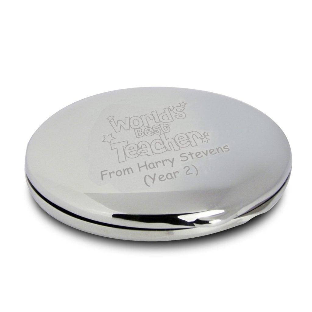 Personalised Worlds Best Teacher Round Compact Mirror