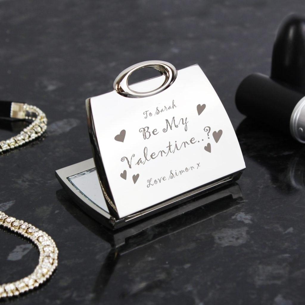 Personalised Be My Valentine Handbag Compact Mirror