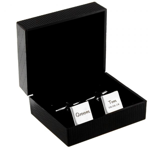 Personalised Wedding Role Square Cufflinks -1 line
