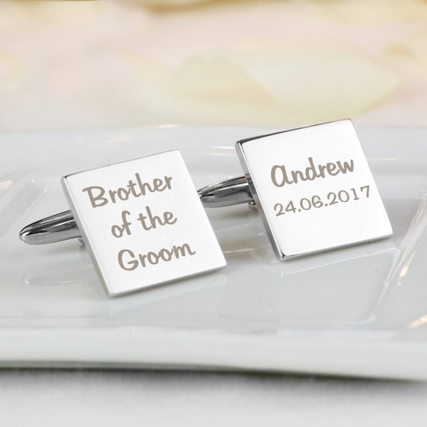 Personalised Wedding Role Square Cufflinks -3 lines