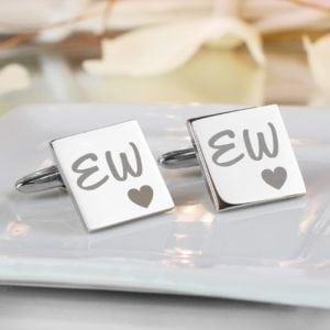 Personalised Square Cufflinks Initials & Heart