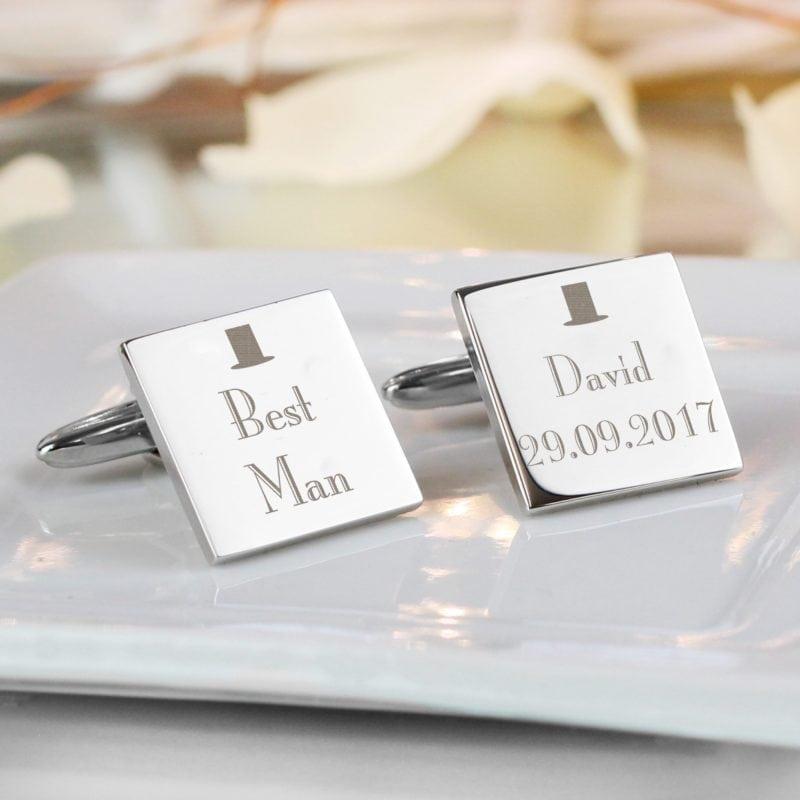 Personalised Decorative Wedding Best Man Square Cufflinks