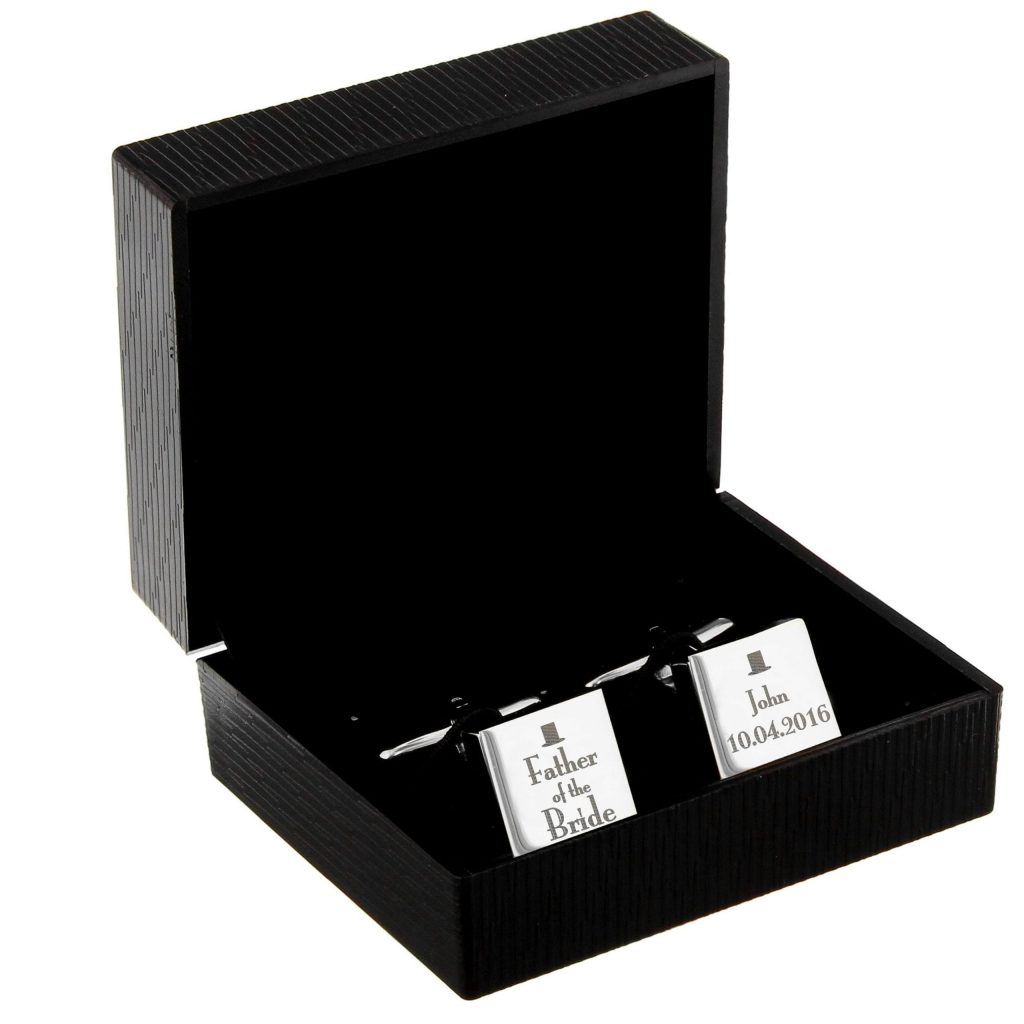 Personalised Decorative Wedding Father of the Bride Square Cufflinks