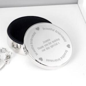 Personalised Beautiful Bridesmaid Round Trinket Box