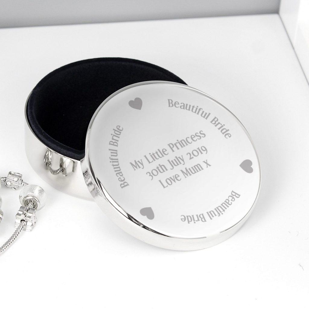 Personalised Beautiful Bride Round Trinket Box