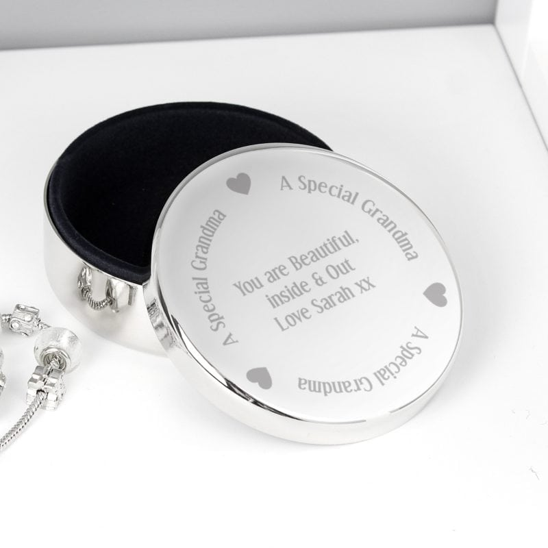 Personalised A Special Grandma Round Trinket Box