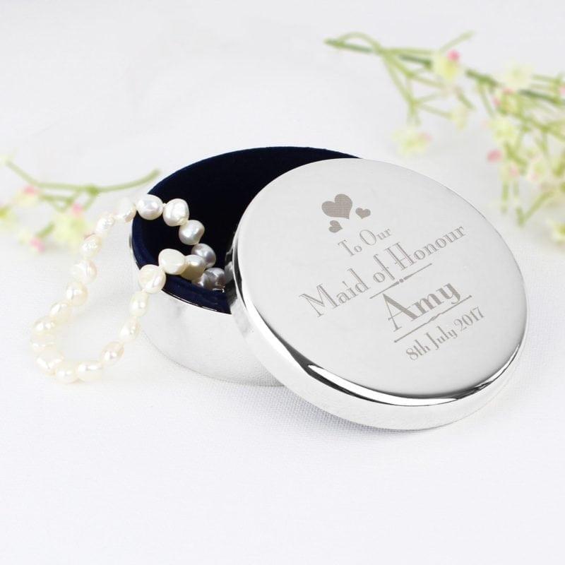 Personalised Decorative Wedding Maid of Honour Round Trinket Box