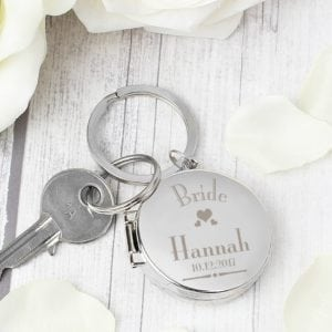 Personalised Decorative Wedding Bride Round Photo Keyring