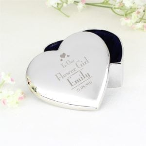 Personalised Decorative Wedding Flower Girl Heart Trinket Box