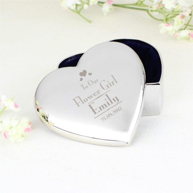 Personalised Decorative Wedding Flower Girl Heart Trinket Box