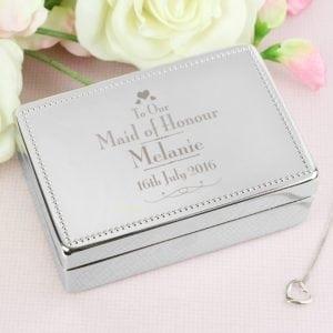 Personalised Decorative Wedding Maid of Honour Jewellery Box