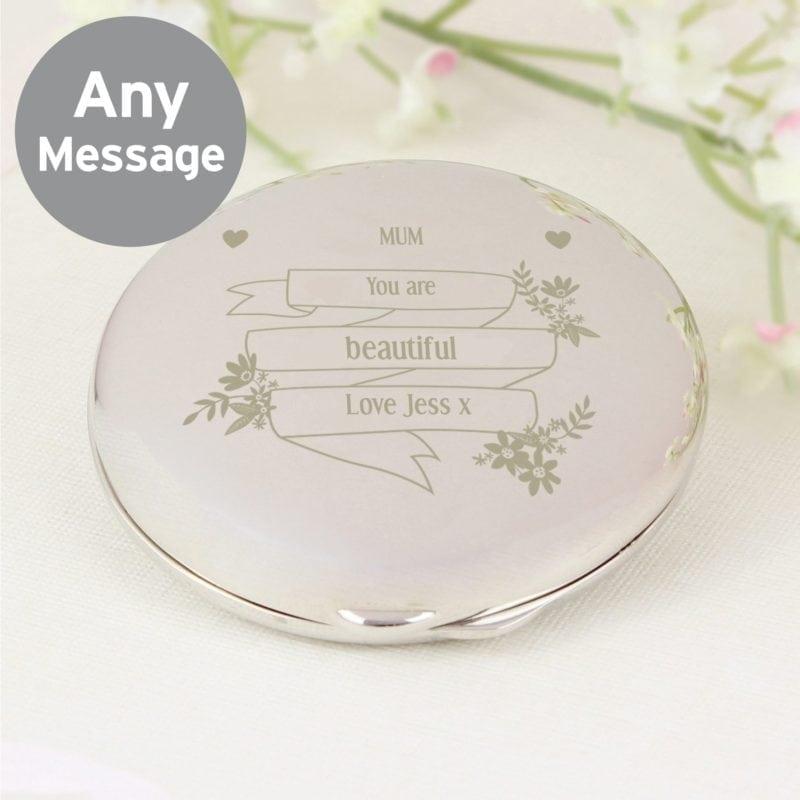 Personalised Garden Bloom Compact Mirror