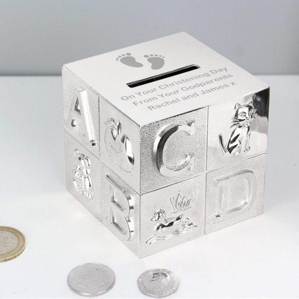 Personalised Footprints ABC Money Box