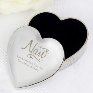 Personalised Nan Swirls & Hearts Trinket Box