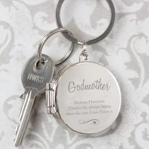 Personalised Swirls & Hearts Photo Keyring