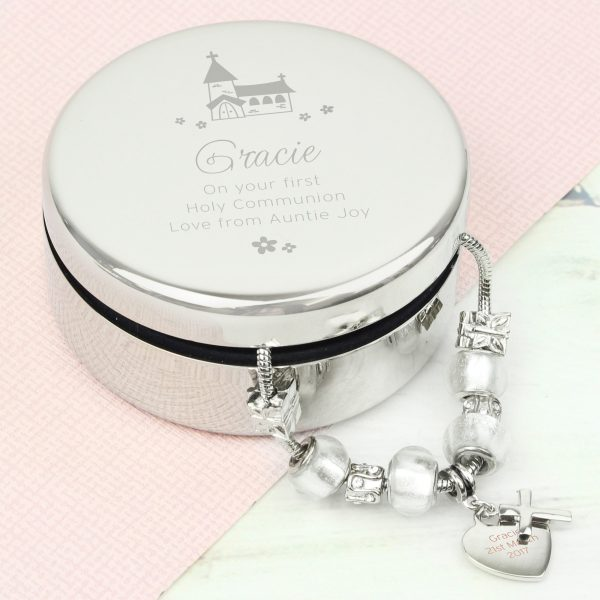 Personalised Whimsical Church Round Trinket Box & Ice White Cross Charm Bracelet