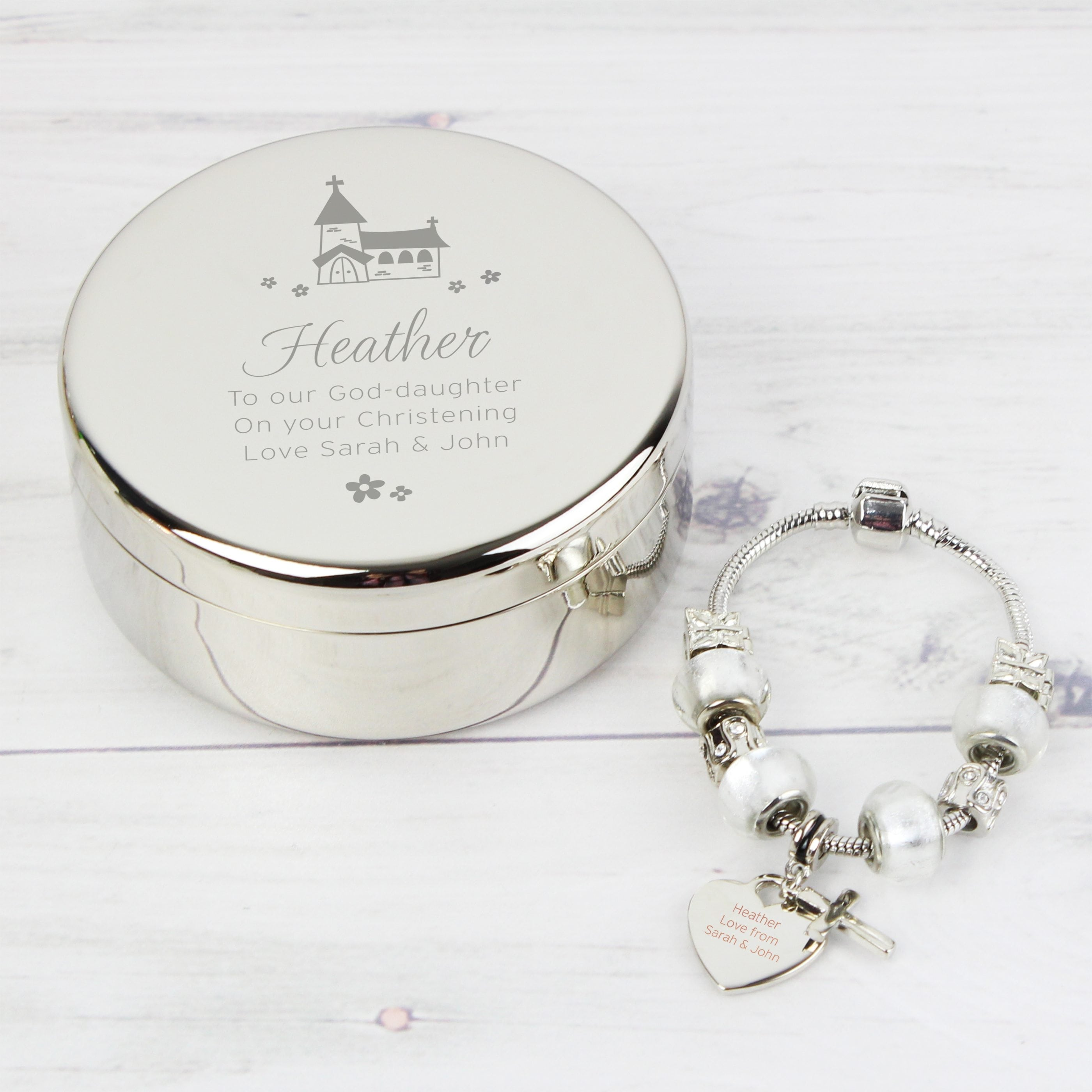 trinket whimsical bracelet church personalised charm ice product white cross round box