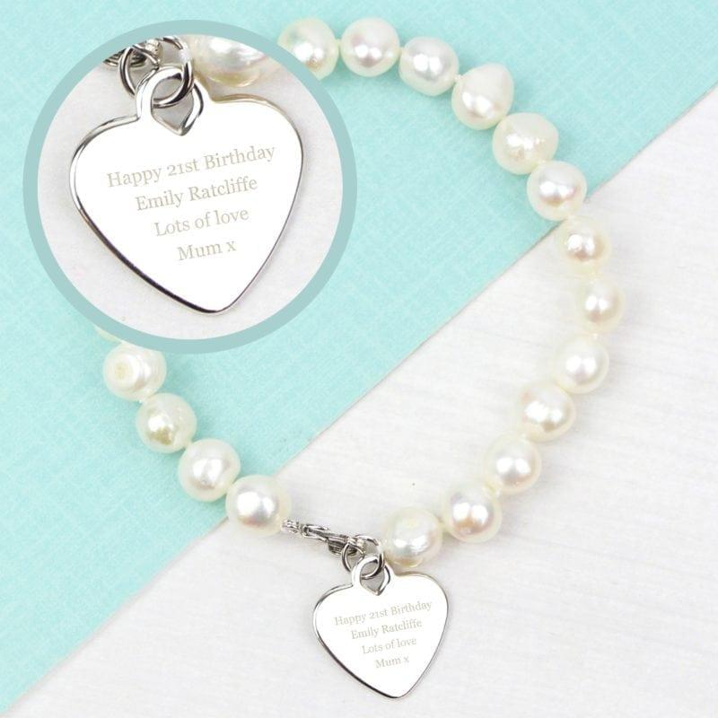 Personalised White Freshwater Pearl Message Bracelet