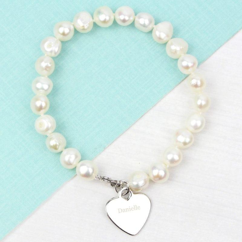 Personalised White Freshwater Pearl Name Bracelet