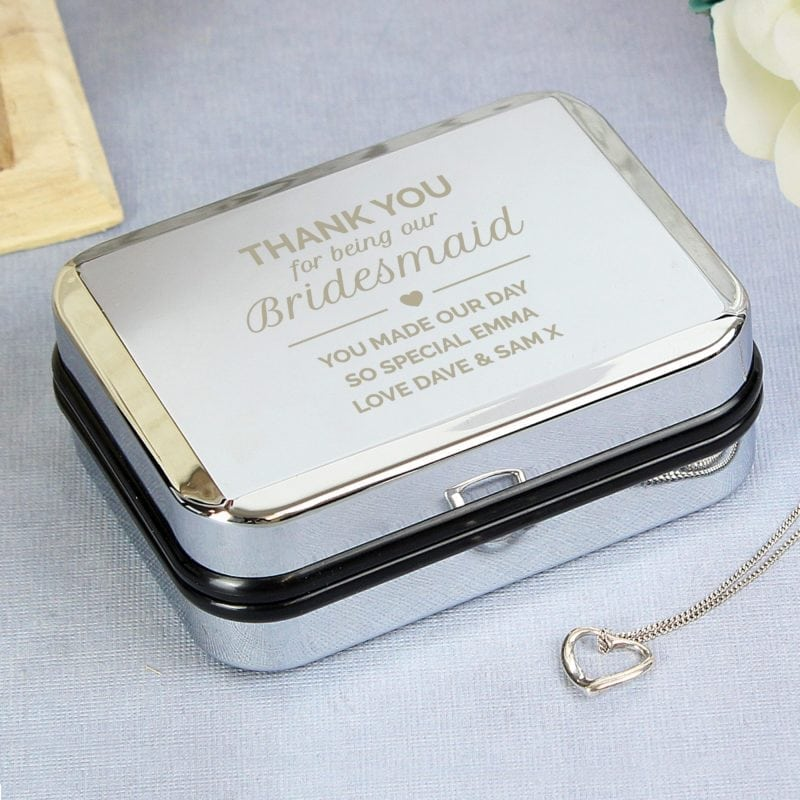Personalised Birdesmaid Box and Heart Necklace