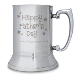 Personalised Happy Fathers Day Stars Stainless Steel Tankard