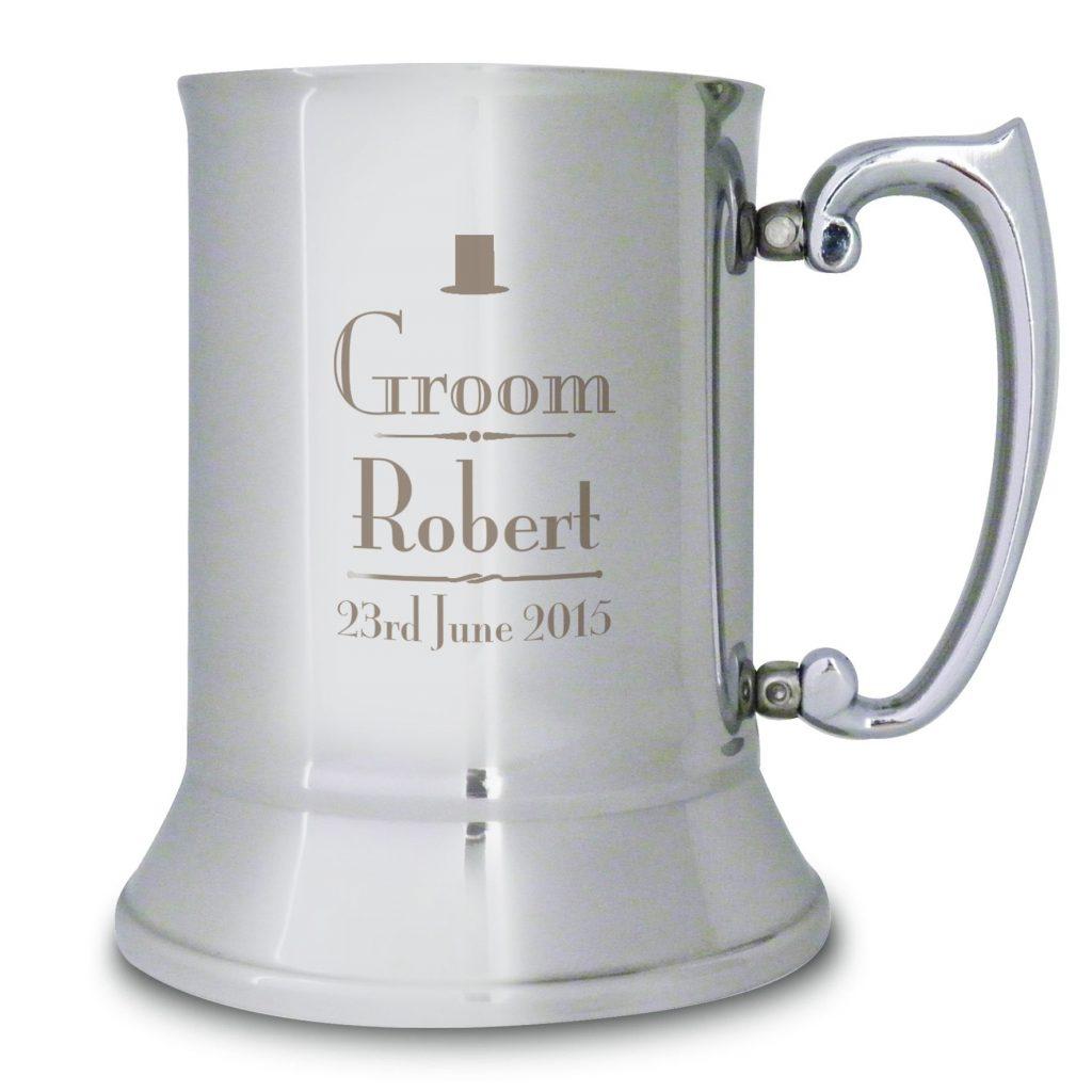 Personalised Decorative Wedding Groom Stainless Steel Tankard