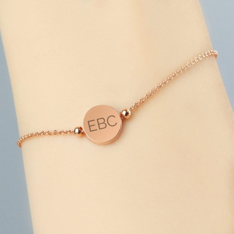 Personalised Rose Gold Plated Initials Disc Bracelet