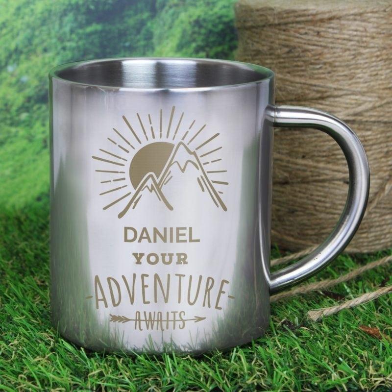 Personalised 'Adventure Awaits' Metal Mug