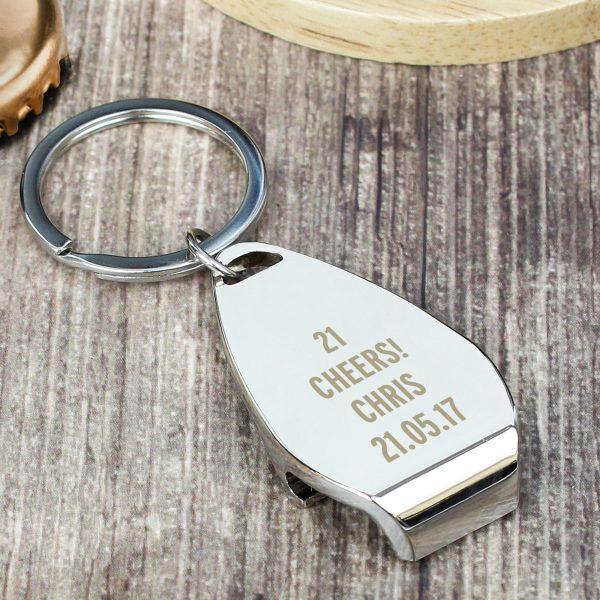 Personalised Any Message Bottle Opener Keyring