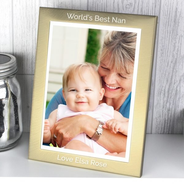 Personalised Classic Gold and Silver Brushed 5x7 Photo Frame