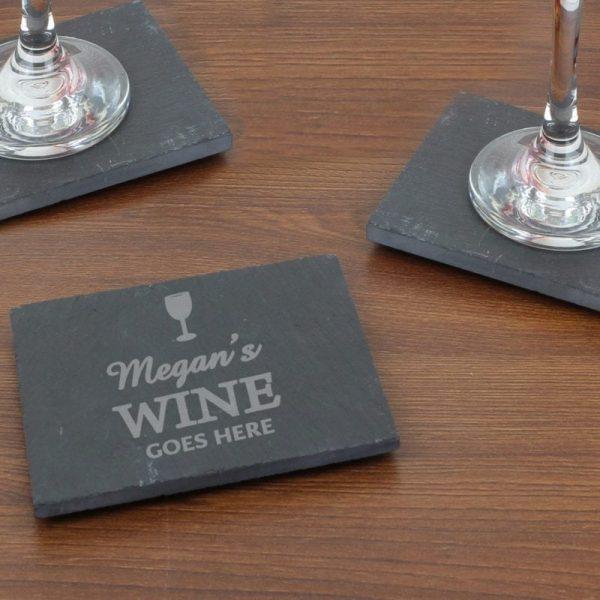 Personalised Wine Goes Here... Single Slate Coaster