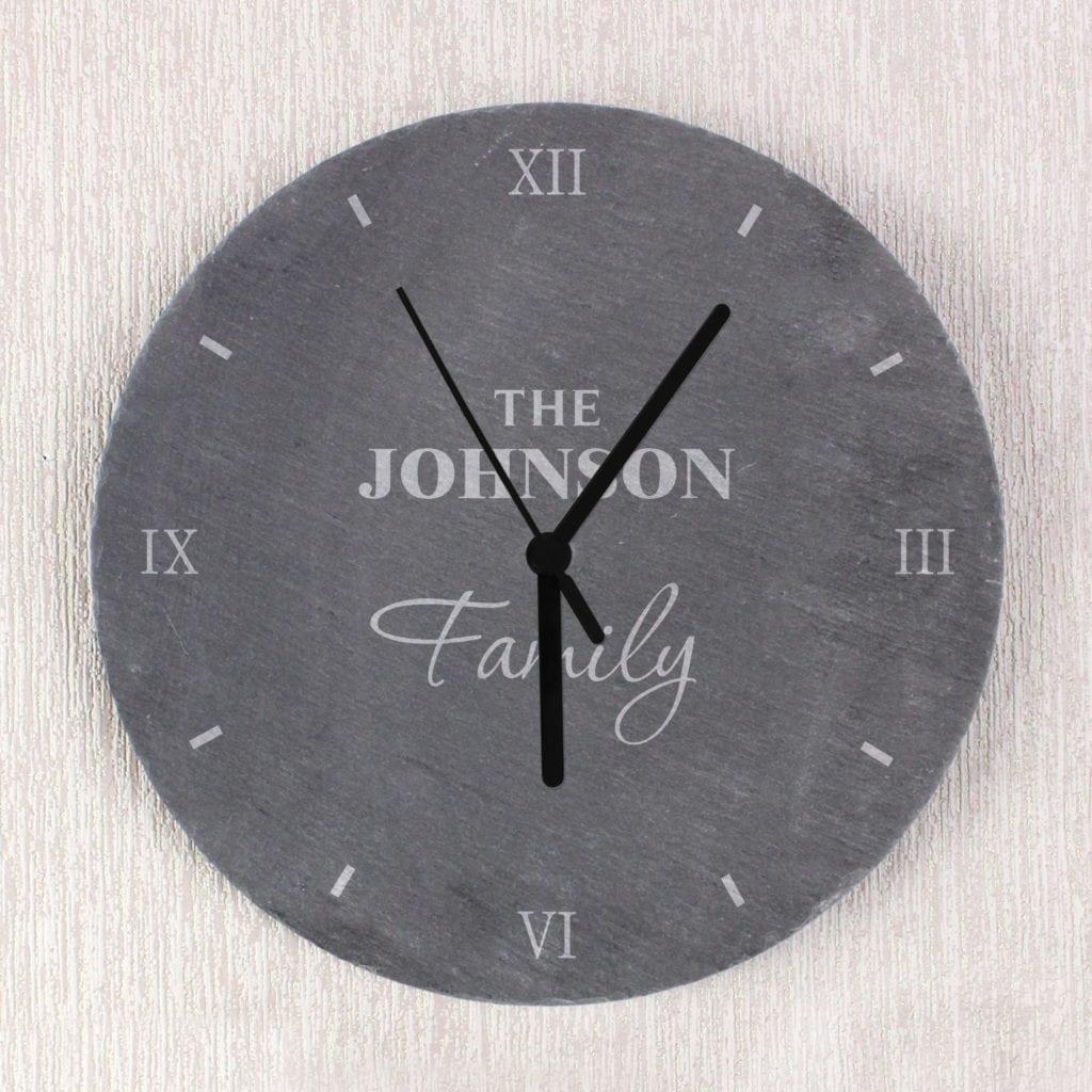 Personalised Family Slate Clock