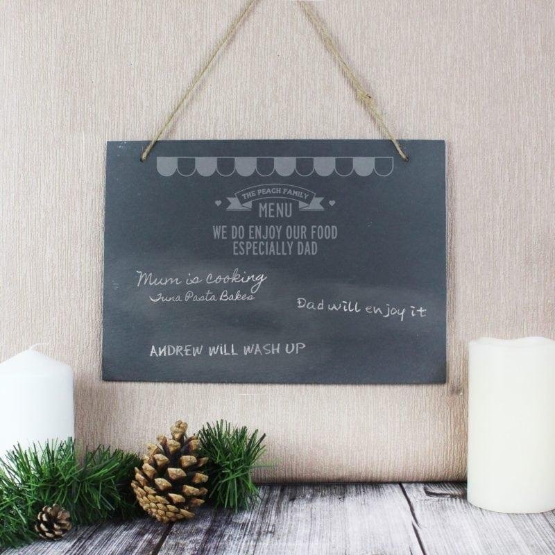 Personalised Menu Hanging Slate Sign