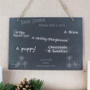 Personalised Christmas Wish List Hanging Slate Sign