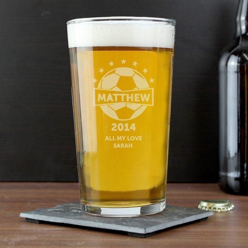 Personalised Football Pint Glass