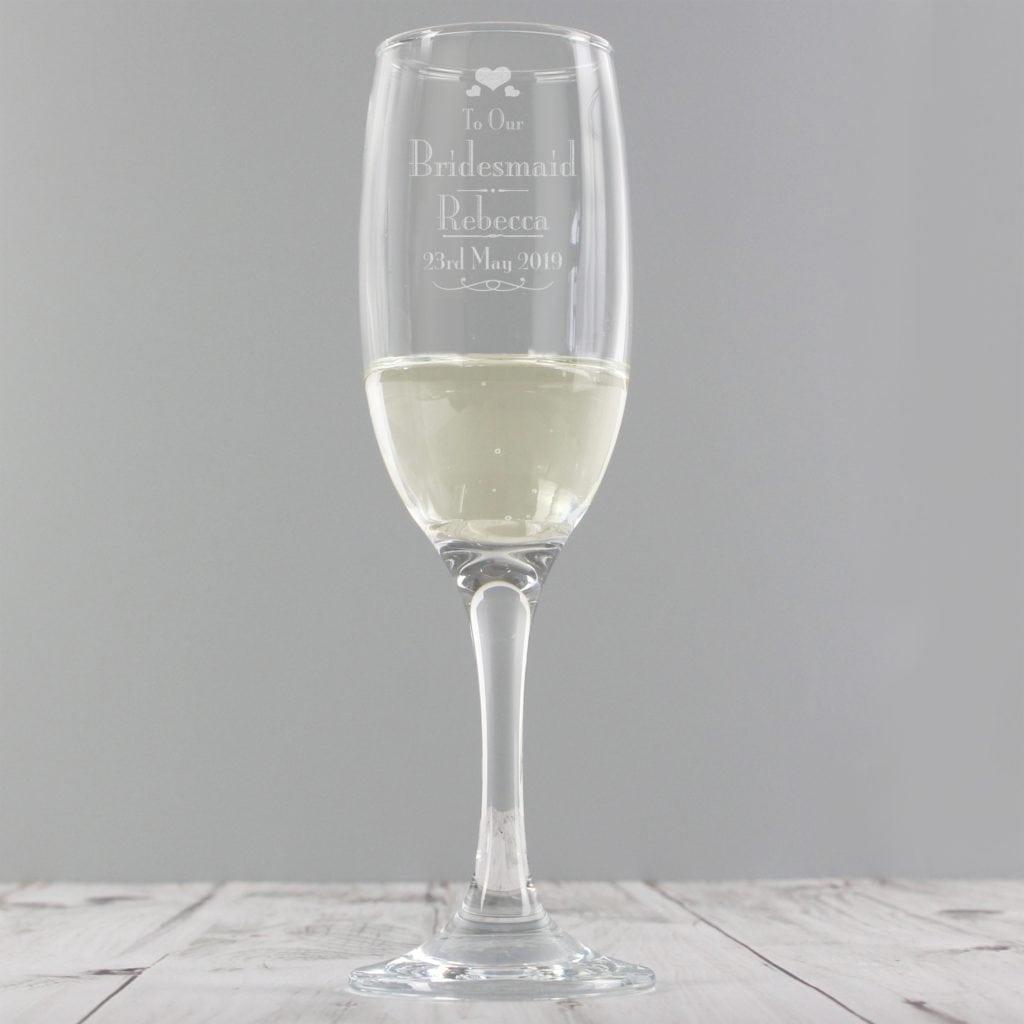 Personalised Decorative Wedding Bridesmaid Glass Flute