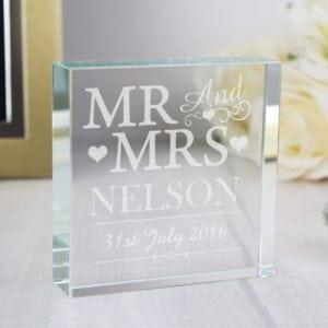 Personalised Mr & Mrs Large Crystal Token