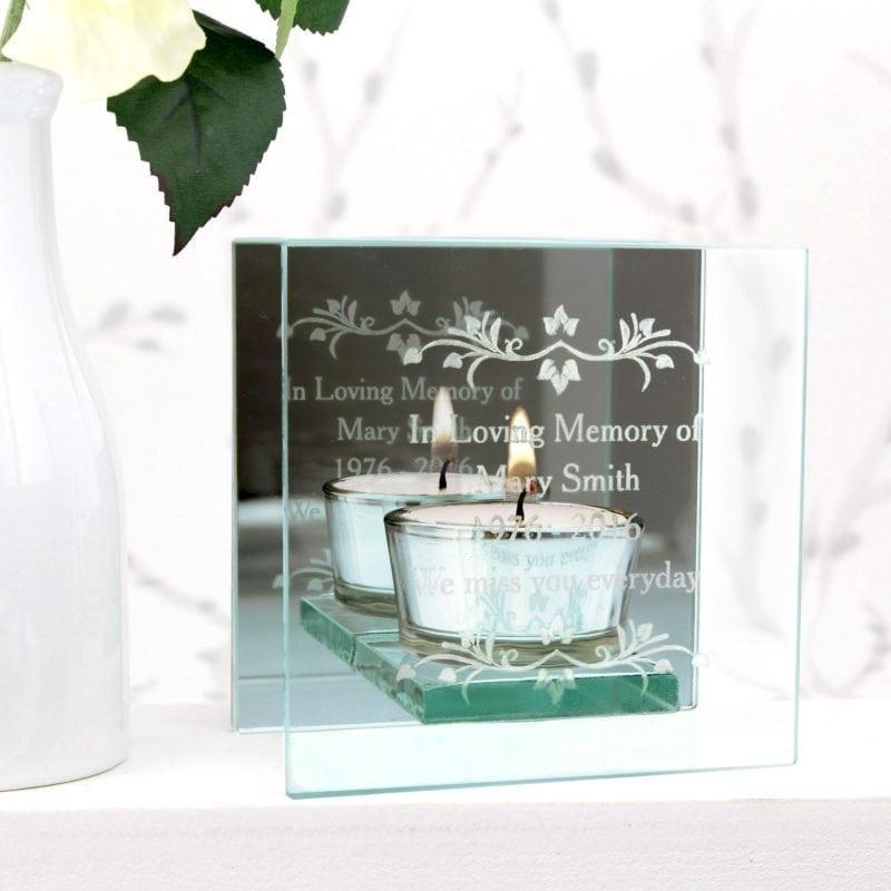 Personalised Sentiments Mirrored Glass Tea Light Holder