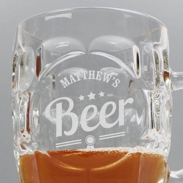 Personalised Beer Label Dimple Tankard Pint Glass
