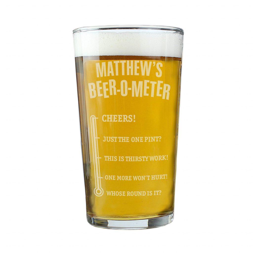 Personalised Beer-o-Meter Pint Glass
