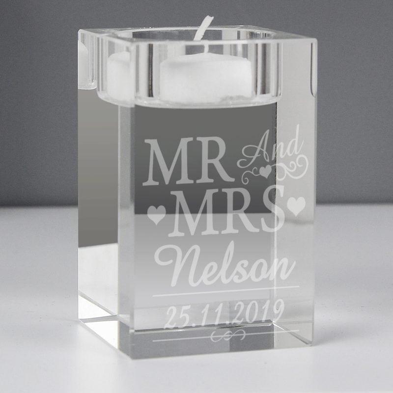 Personalised Mr & Mrs Tea Light Candle Holder