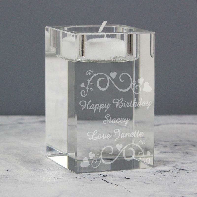 Personalised Ornate Swirl Tea Light Candle Holder