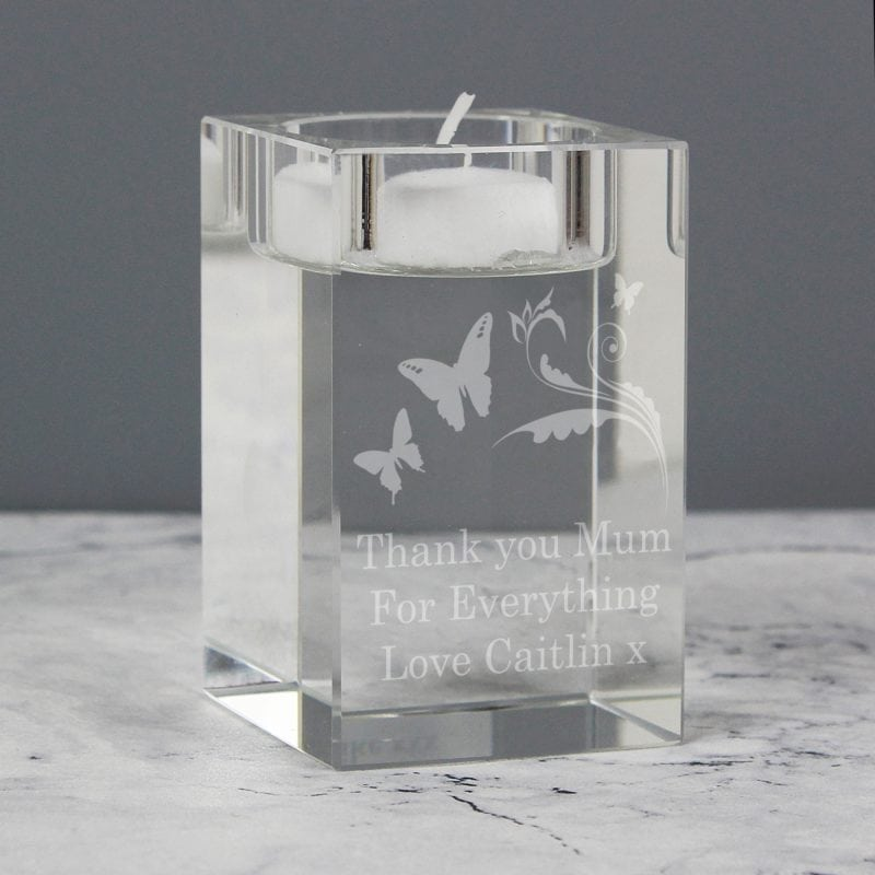 Personalised Butterfly Swirl Tea Light Candle Holder