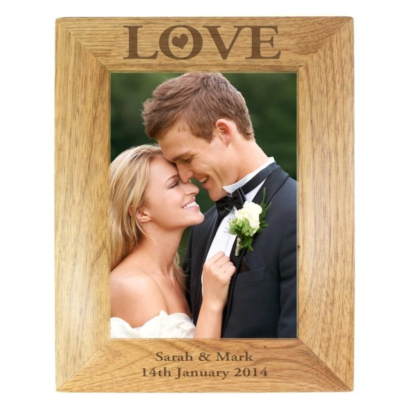 Personalised Love 7x5 Wooden Photo Frame