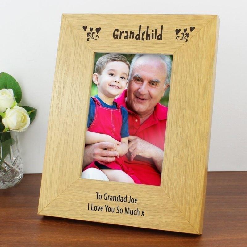 Personalised Oak Finish 4x6 Grandchild Photo Frame