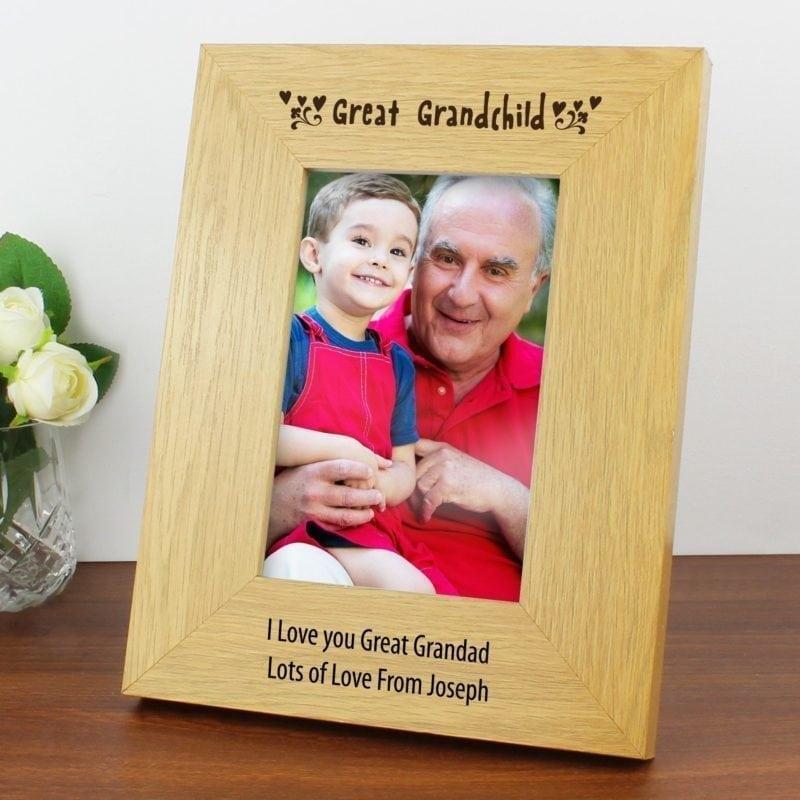 Personalised Oak Finish 4x6 Great Grandchild Photo Frame