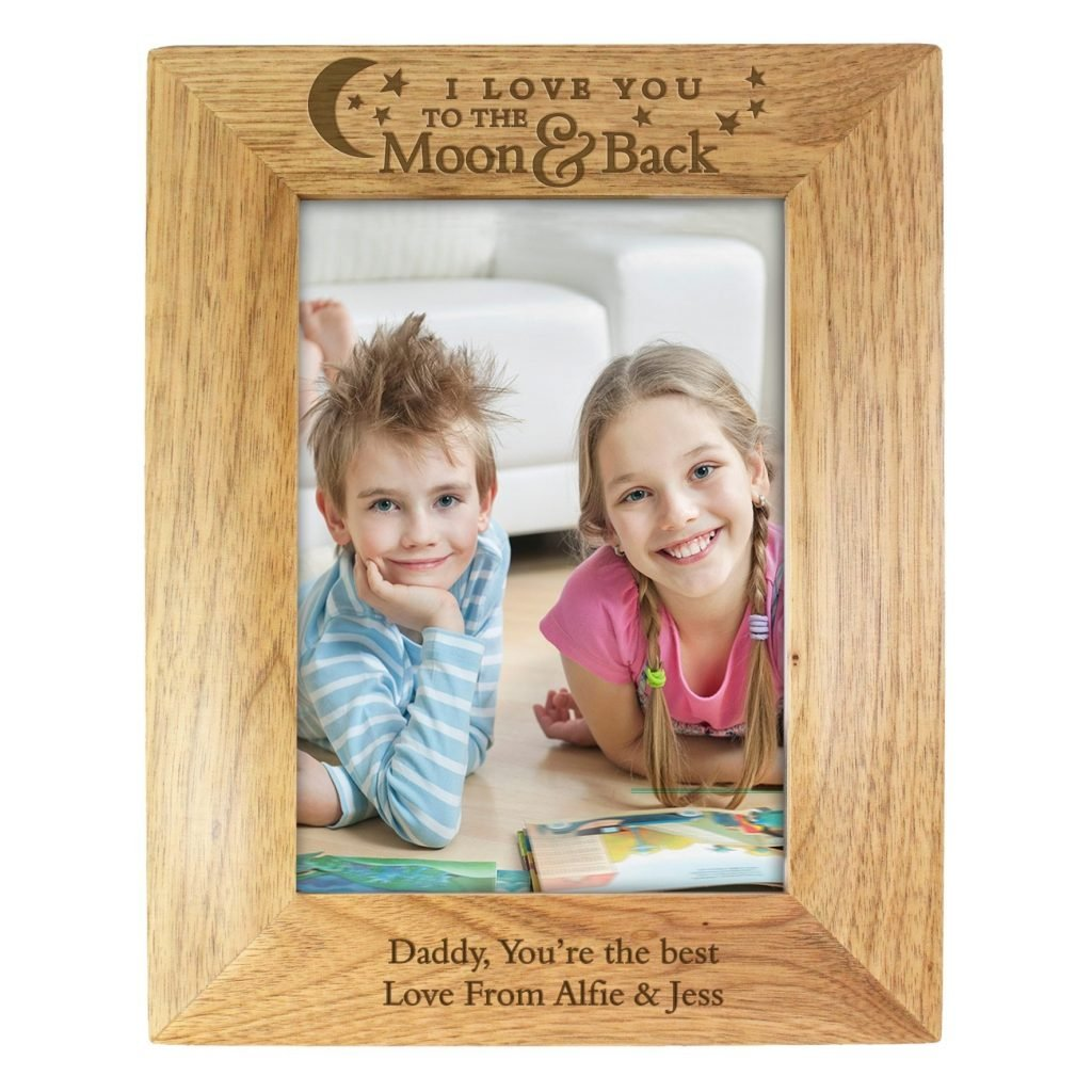 Personalised To the Moon and Back... 5x7 Wooden Photo Frame