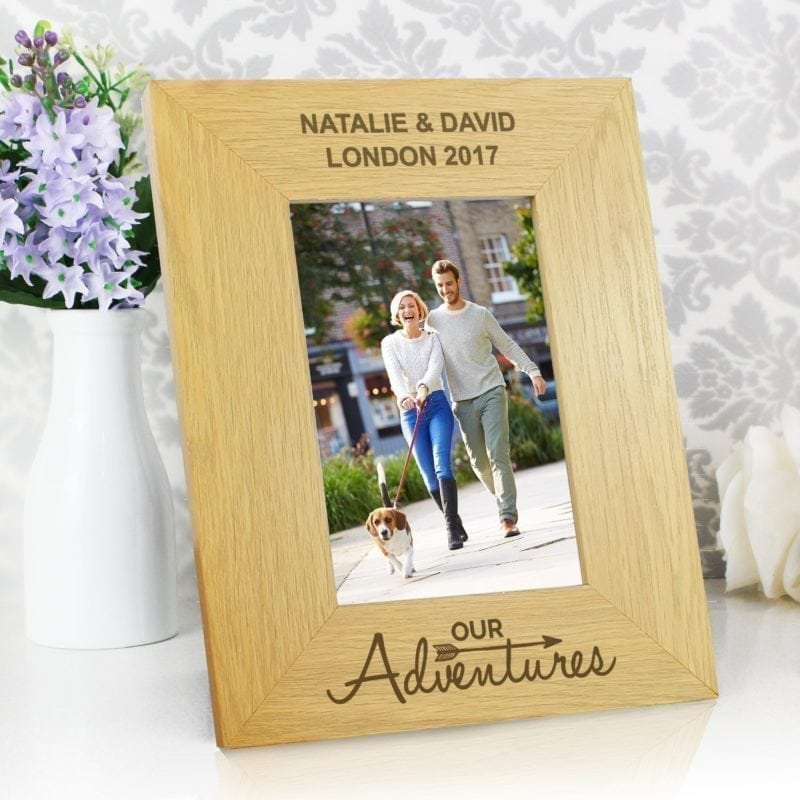 Personalised Our Adventures 4x6 Wooden Photo Frame